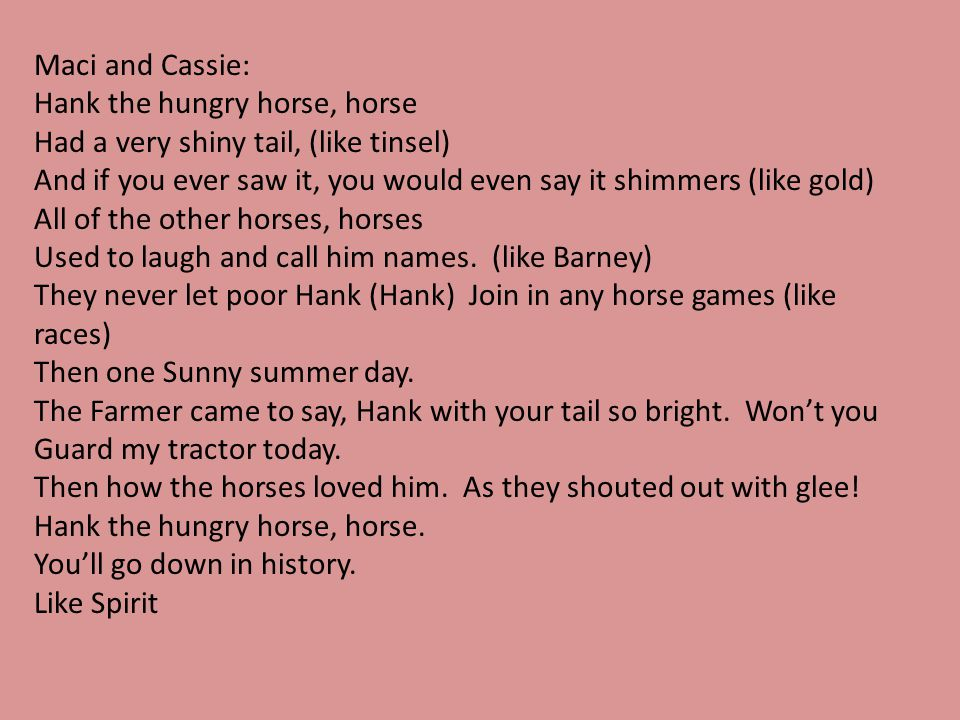 Maci and Cassie: Hank the hungry horse, horse. Had a very shiny tail, (like tinsel)