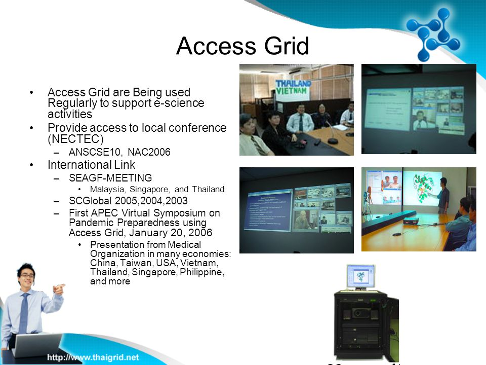 Access Grid Access Grid are Being used Regularly to support e-science activities. Provide access to local conference (NECTEC)