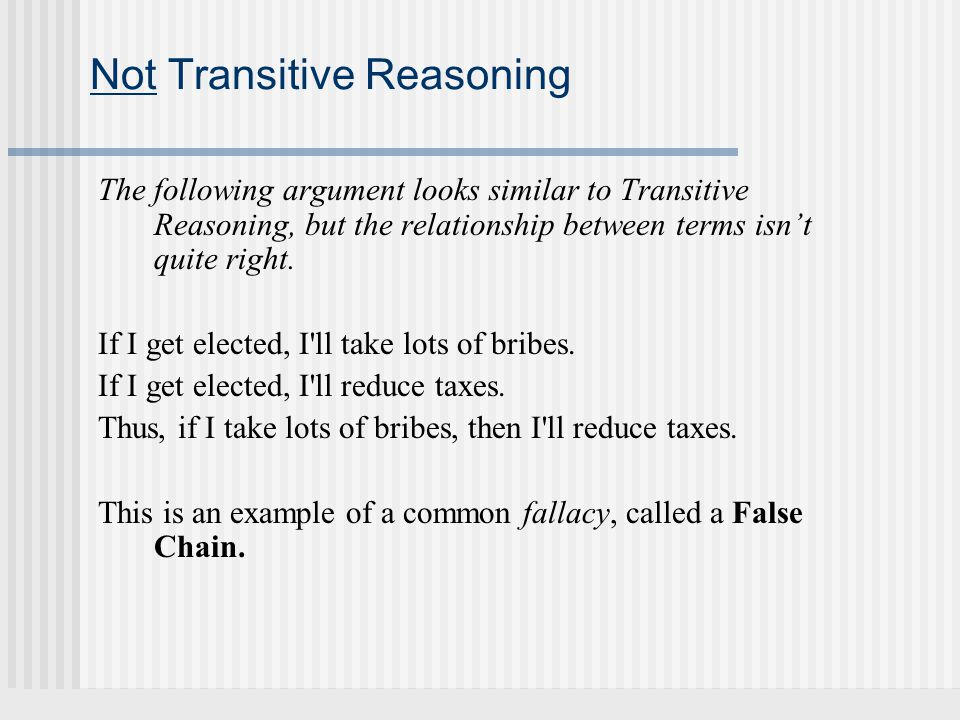 Not Transitive Reasoning
