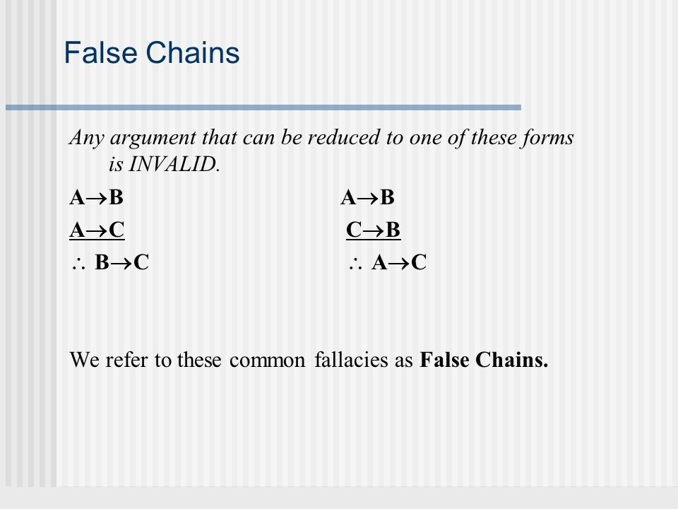 False Chains Any argument that can be reduced to one of these forms is INVALID. AB AB. AC CB.