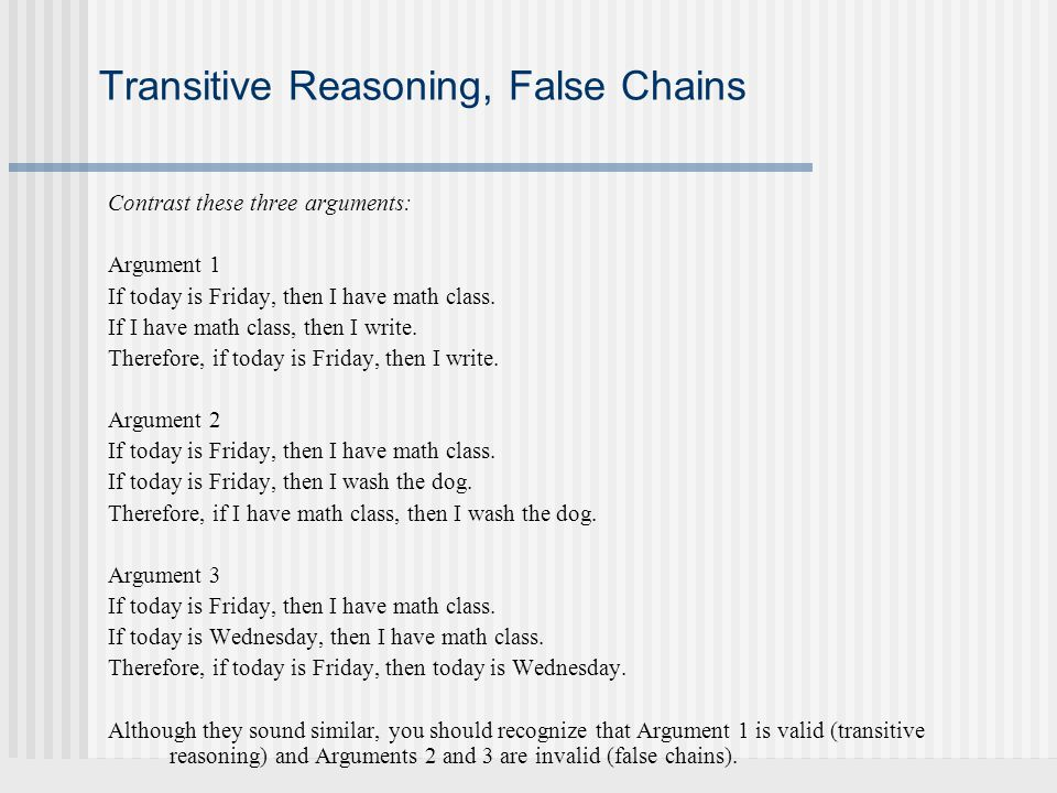 Transitive Reasoning, False Chains
