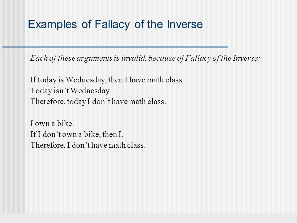 Examples of Fallacy of the Inverse