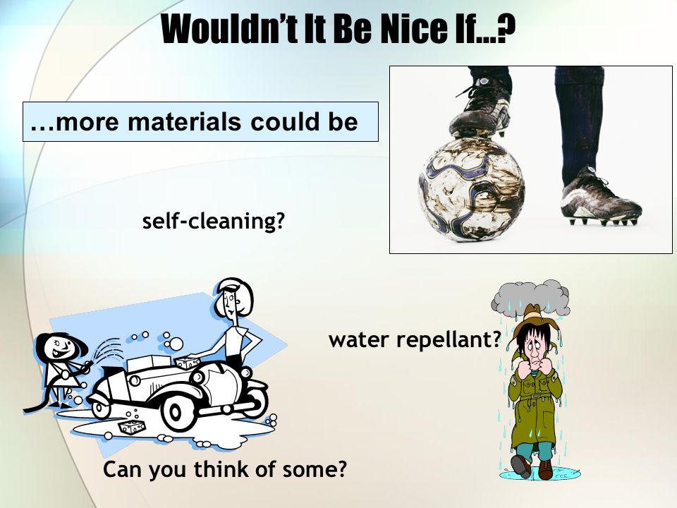 Wouldn't It Be Nice If… …more materials could be self-cleaning
