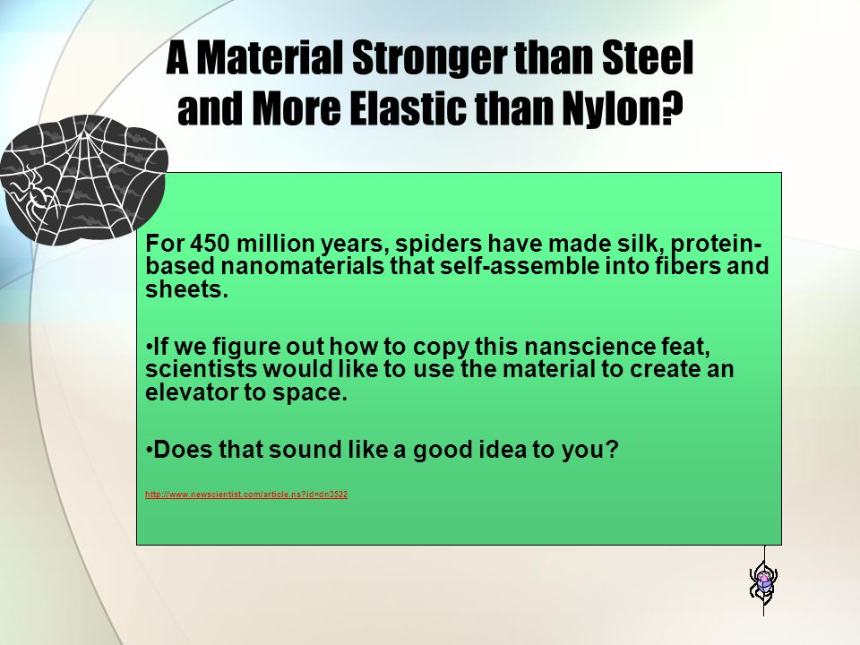 A Material Stronger than Steel and More Elastic than Nylon