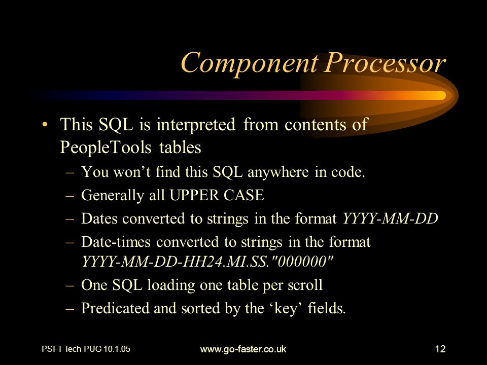 Component Processor This SQL is interpreted from contents of PeopleTools tables. You won't find this SQL anywhere in code.