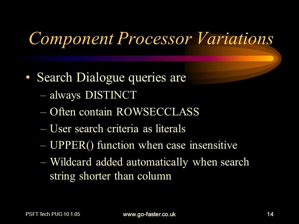 Component Processor Variations