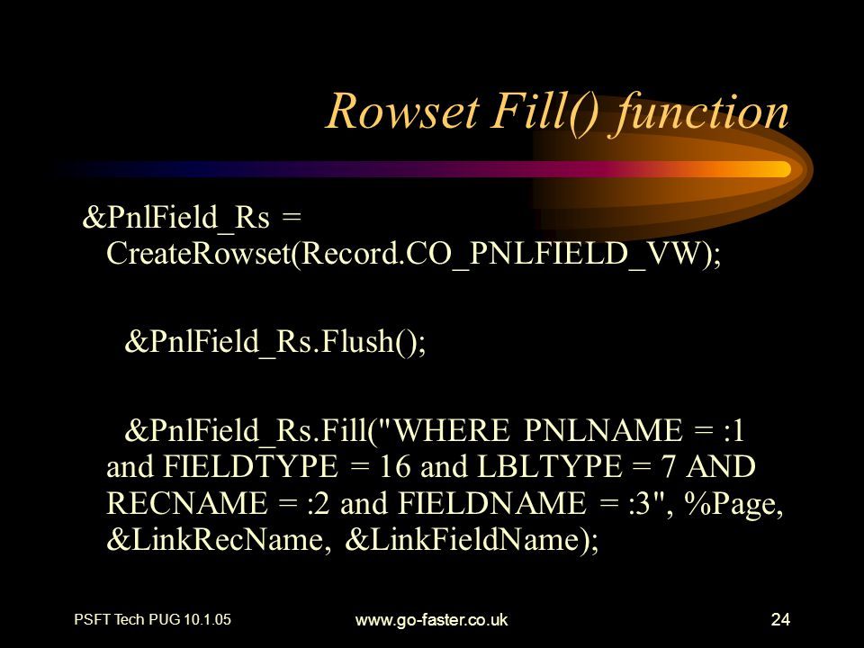 Rowset Fill() function