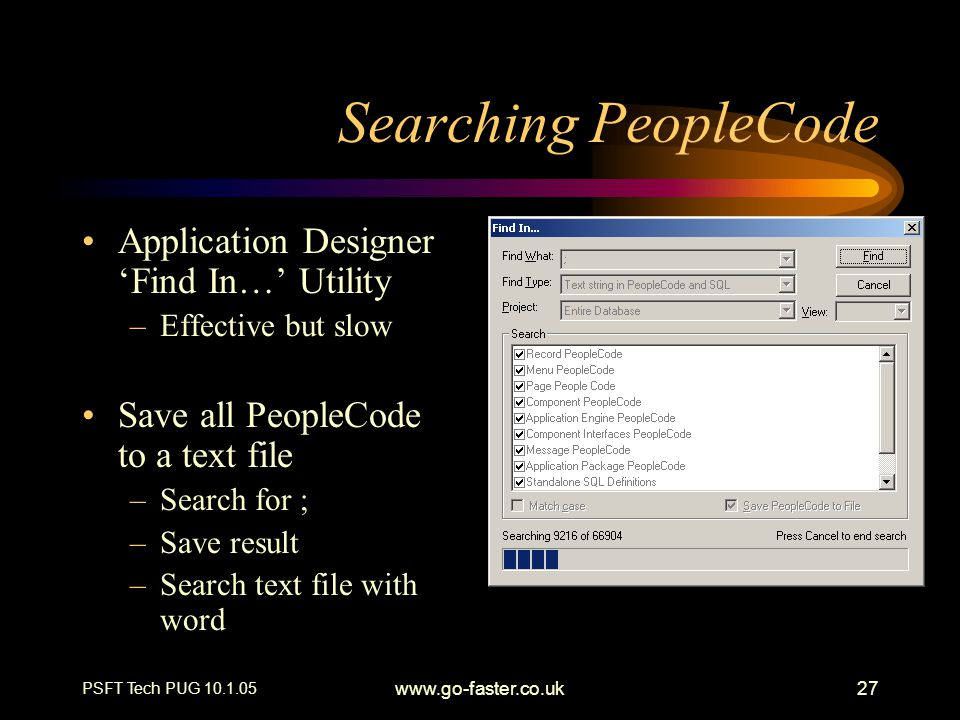 Searching PeopleCode Application Designer 'Find In…' Utility