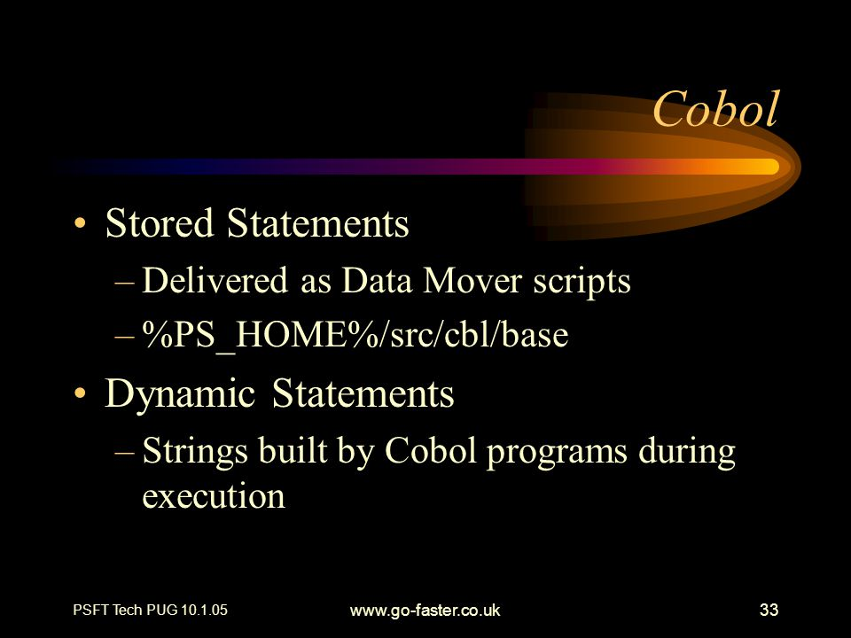 Cobol Stored Statements Dynamic Statements