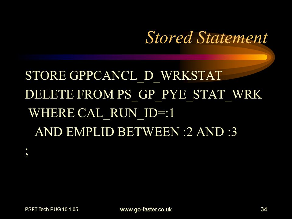 Stored Statement STORE GPPCANCL_D_WRKSTAT