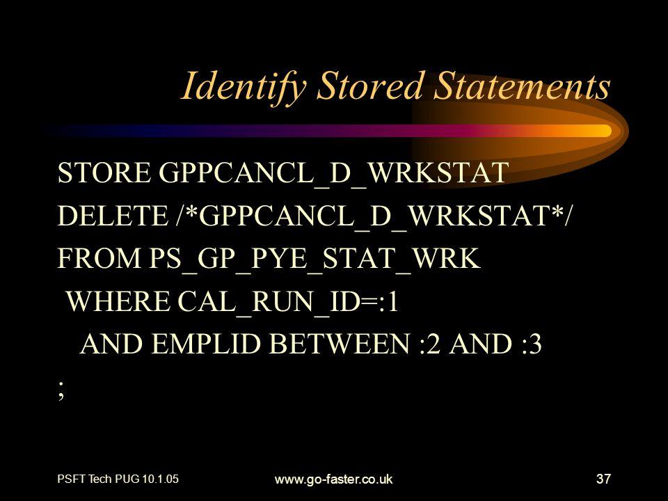 Identify Stored Statements