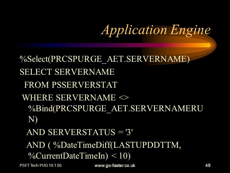 Application Engine %Select(PRCSPURGE_AET.SERVERNAME) SELECT SERVERNAME