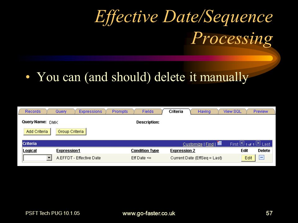 Effective Date/Sequence Processing