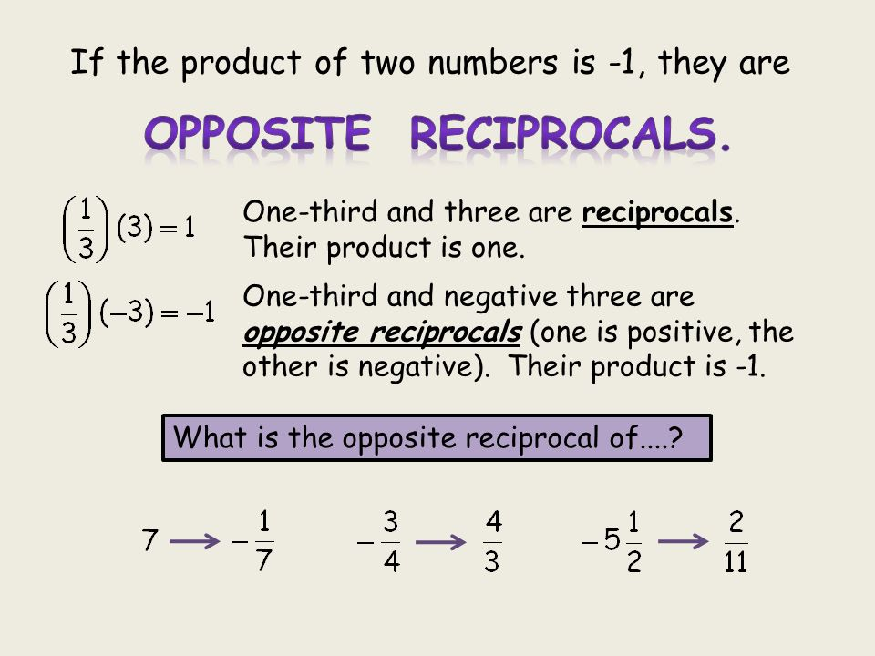 OPPOSITE RECIPROCALS. If the product of two numbers is -1, they are