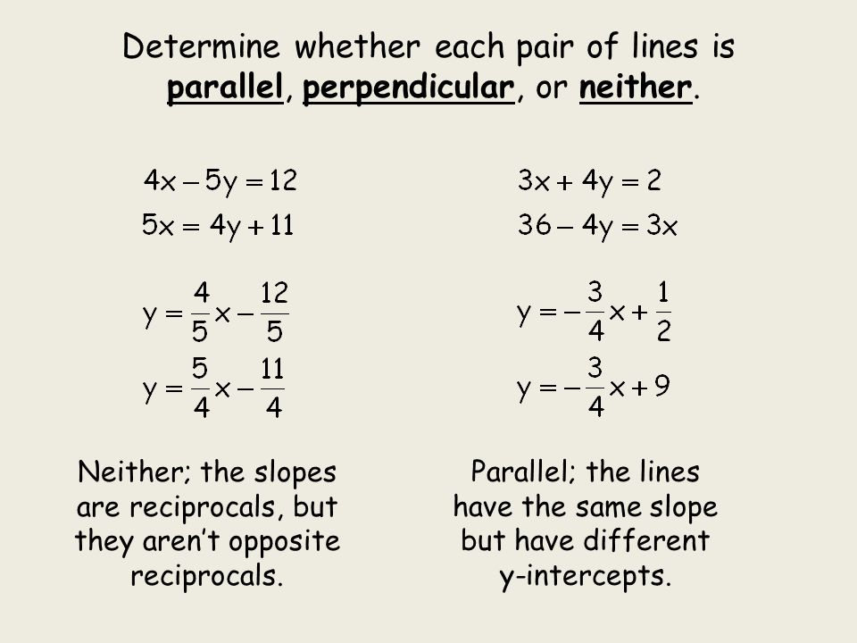 Determine whether each pair of lines is