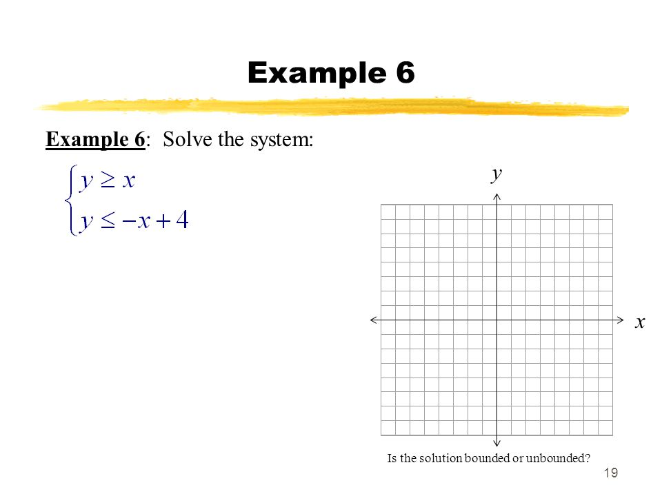Example 6 Example 6: Solve the system: y x