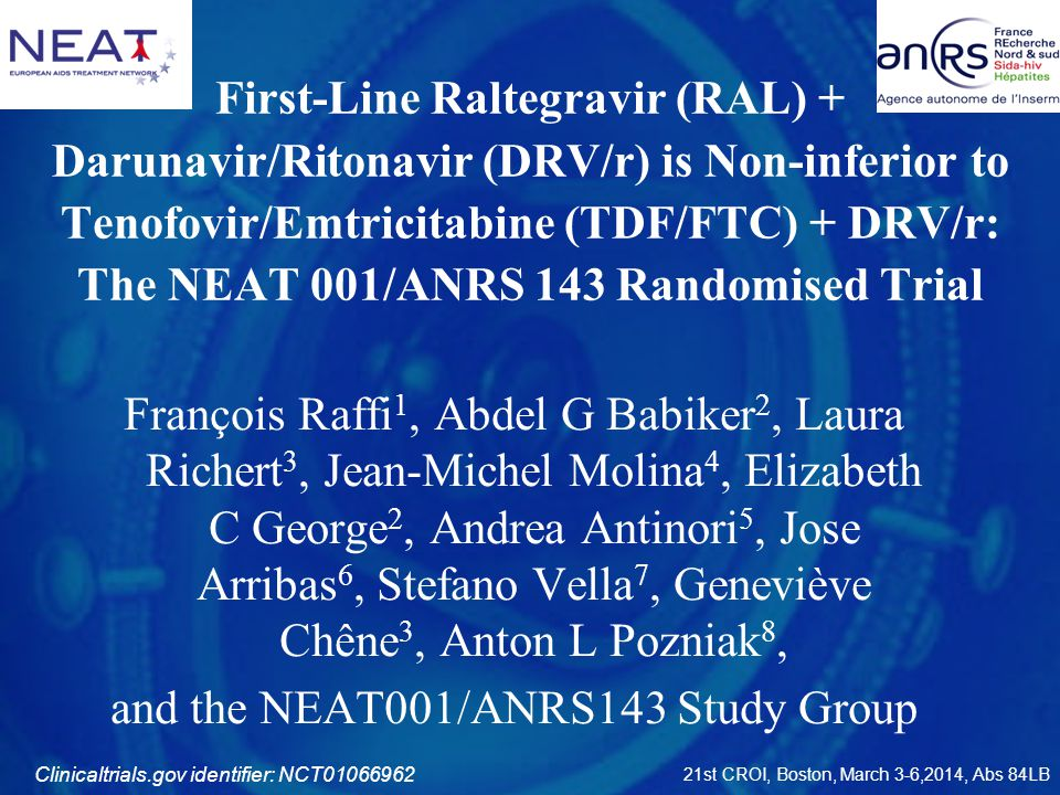 and the NEAT001/ANRS143 Study Group