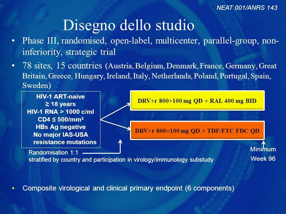 NEAT 001/ANRS 143 Disegno dello studio. Phase III, randomised, open-label, multicenter, parallel-group, non-inferiority, strategic trial.