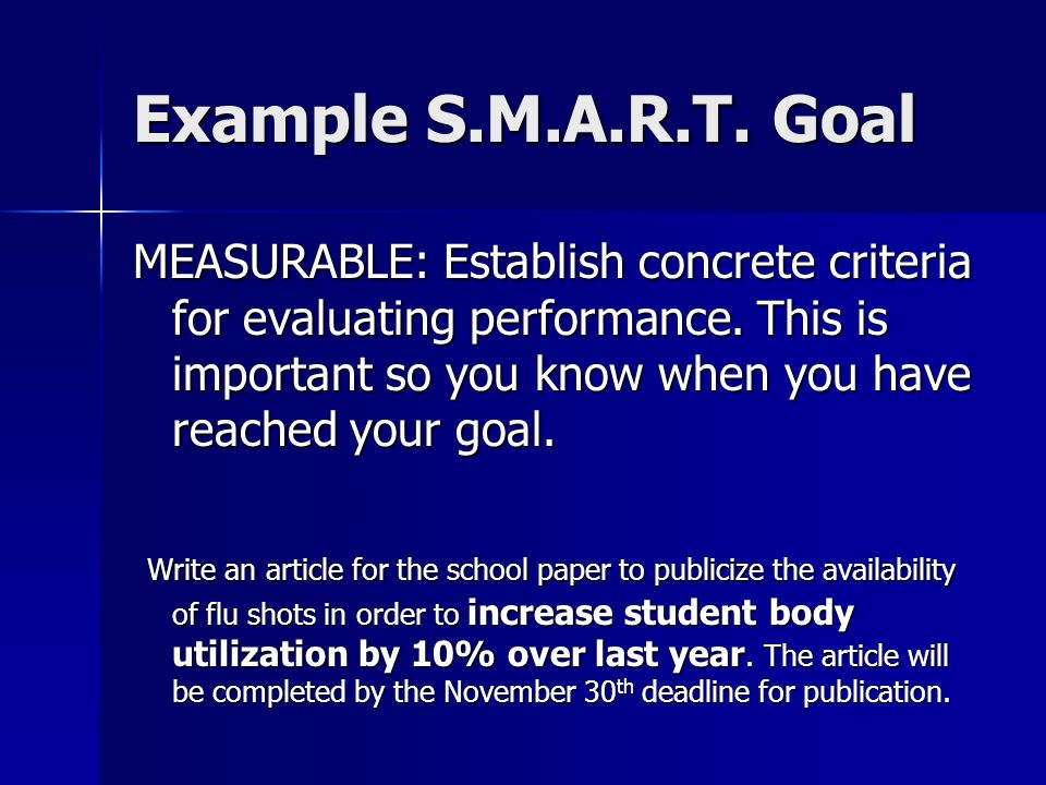 Example S.M.A.R.T. Goal