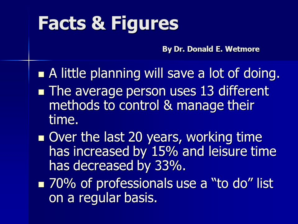 Facts & Figures By Dr. Donald E. Wetmore