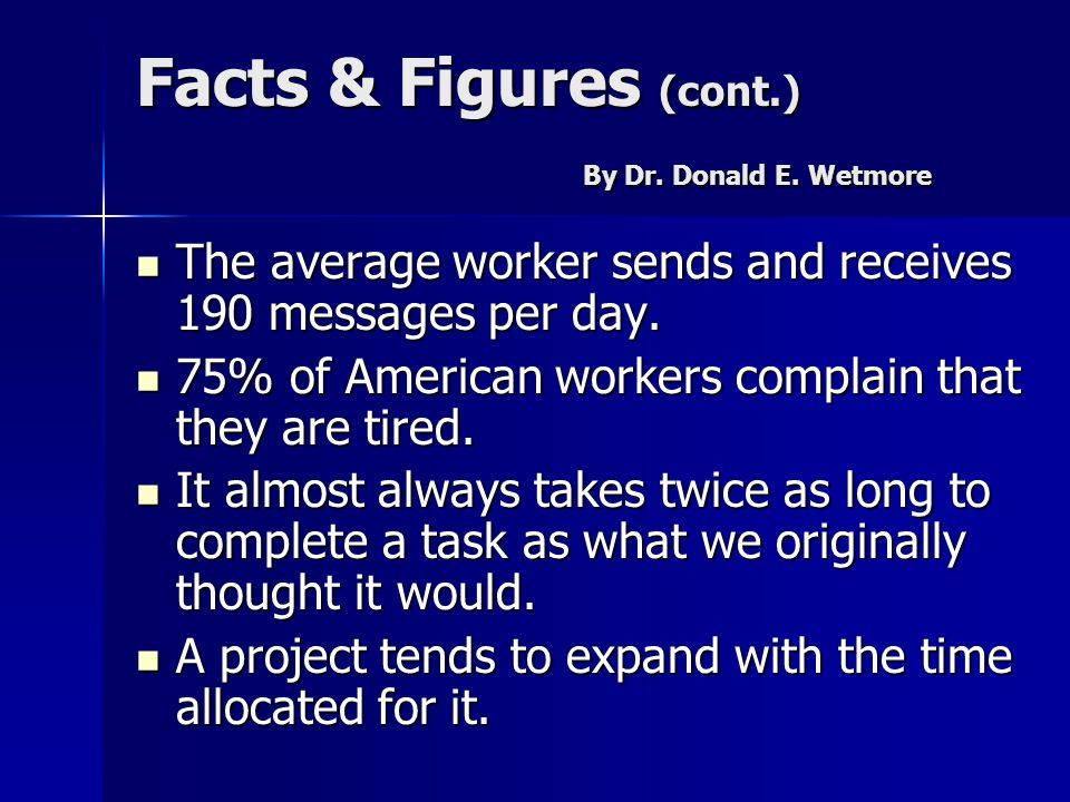 Facts & Figures (cont.) By Dr. Donald E. Wetmore