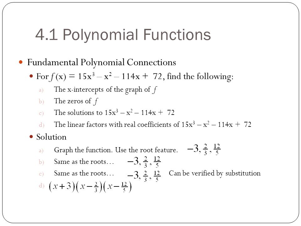 4.1 Polynomial Functions Fundamental Polynomial Connections