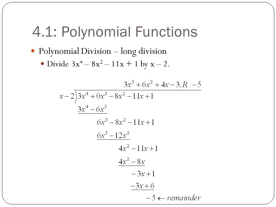 4.1: Polynomial Functions