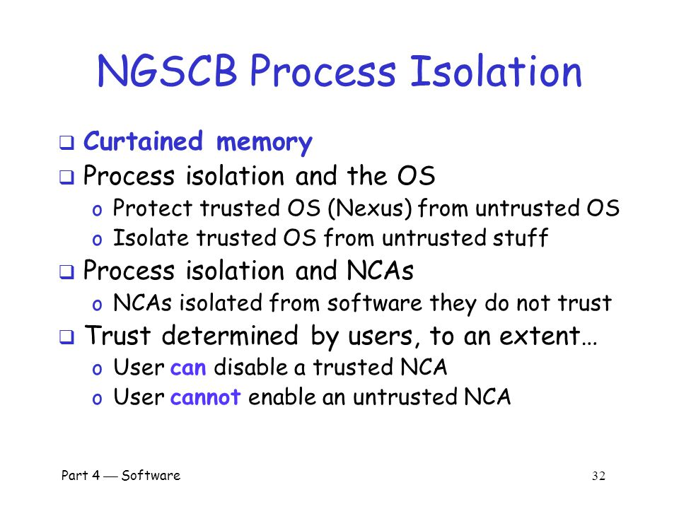 NGSCB Process Isolation