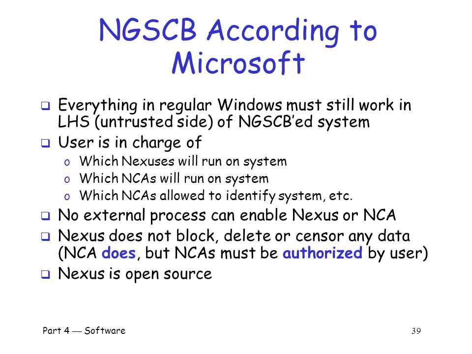 NGSCB According to Microsoft