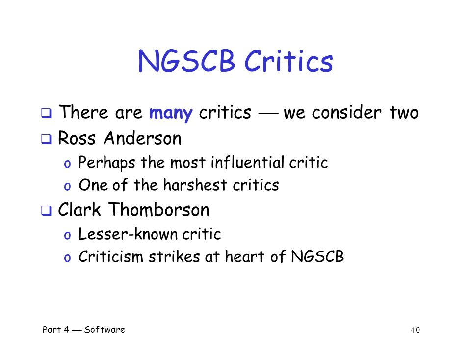 NGSCB Critics There are many critics  we consider two Ross Anderson
