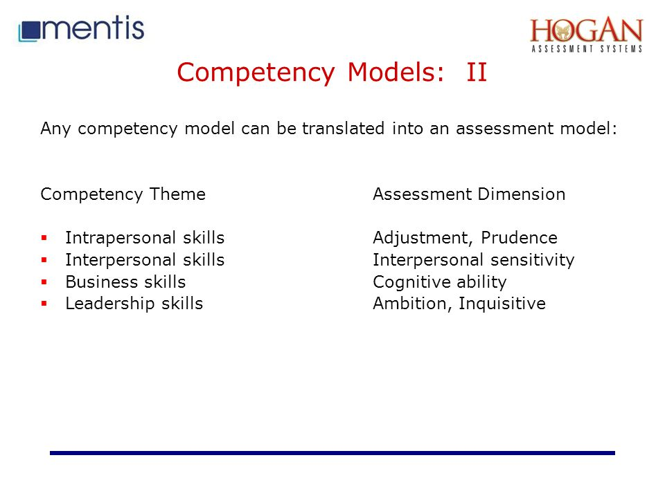 Competency Models: II Any competency model can be translated into an assessment model: Competency Theme Assessment Dimension.