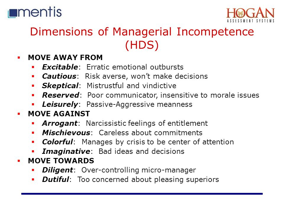Dimensions of Managerial Incompetence (HDS)
