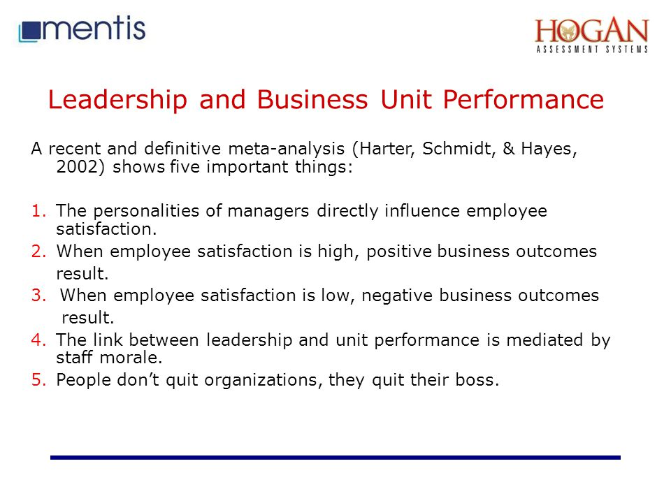 Leadership and Business Unit Performance