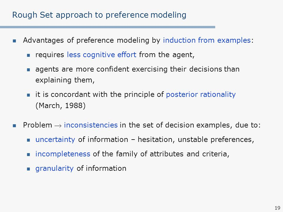 Rough Set approach to preference modeling