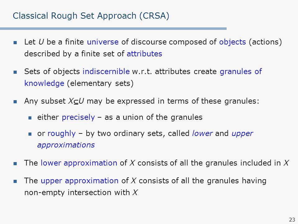 Classical Rough Set Approach (CRSA)