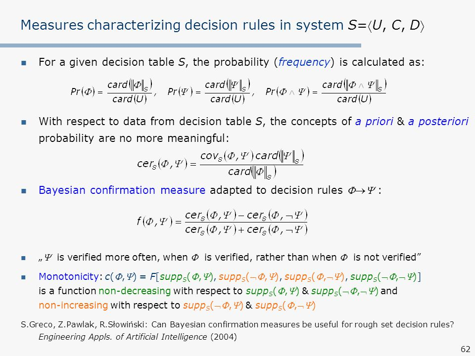 Measures characterizing decision rules in system S=U, C, D
