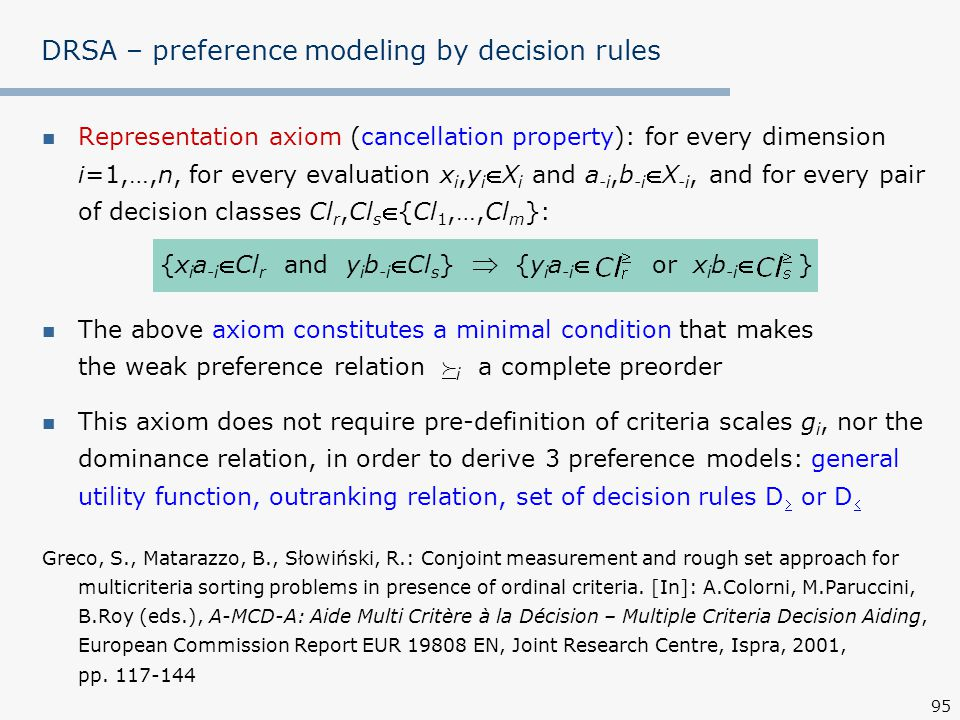 DRSA – preference modeling by decision rules