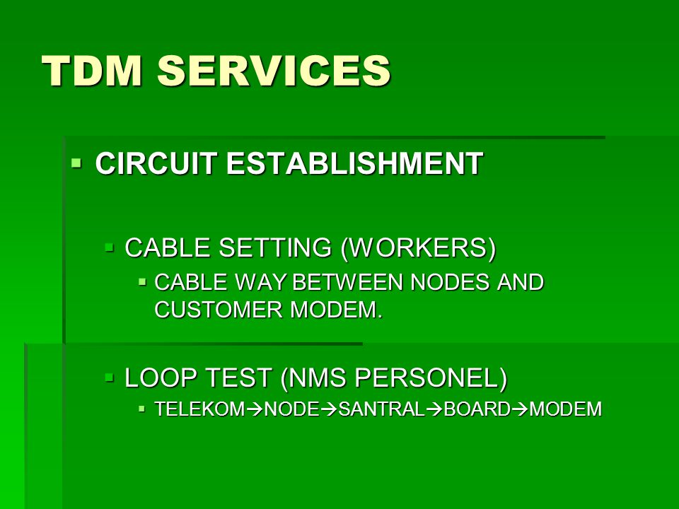 TDM SERVICES CIRCUIT ESTABLISHMENT CABLE SETTING (WORKERS)