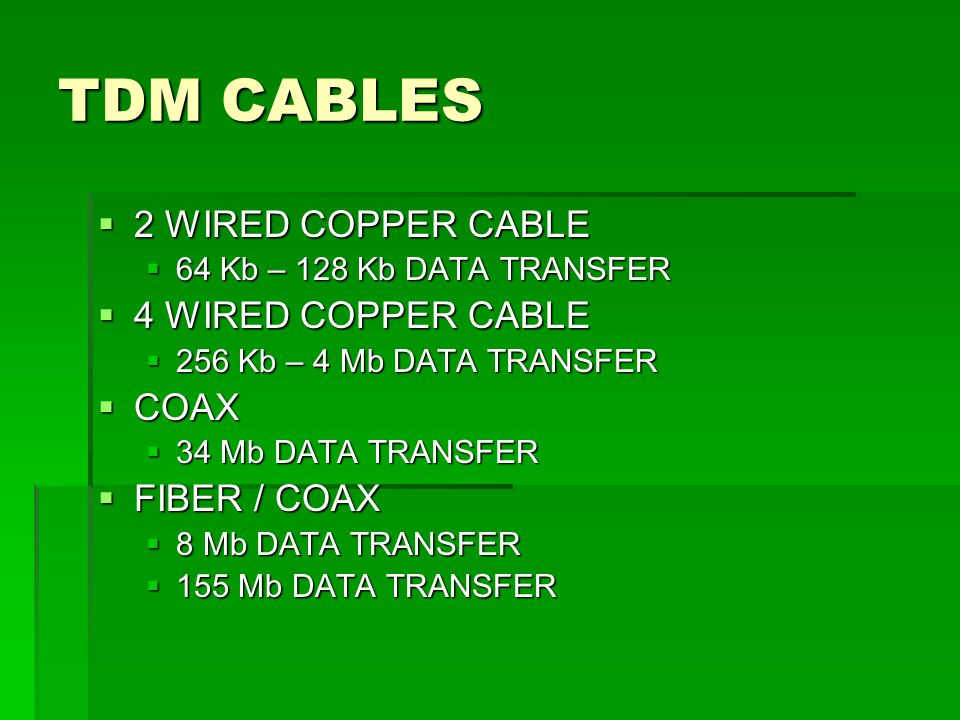 TDM CABLES 2 WIRED COPPER CABLE 4 WIRED COPPER CABLE COAX FIBER / COAX