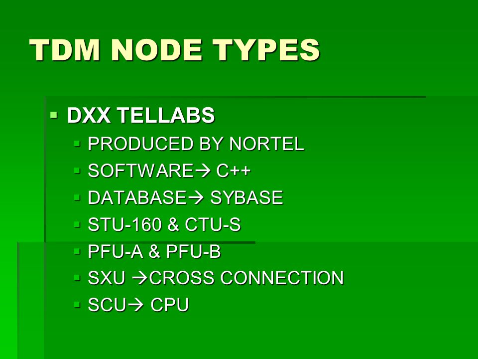 TDM NODE TYPES DXX TELLABS PRODUCED BY NORTEL SOFTWARE C++