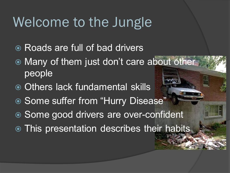 Welcome to the Jungle Roads are full of bad drivers