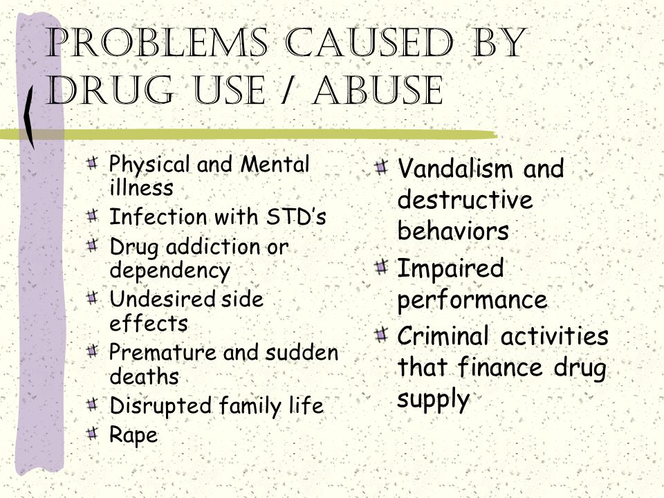 Problems caused by drug use / abuse