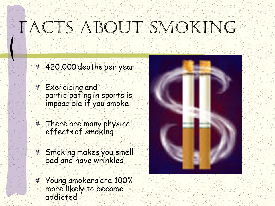 Facts about smoking 420,000 deaths per year