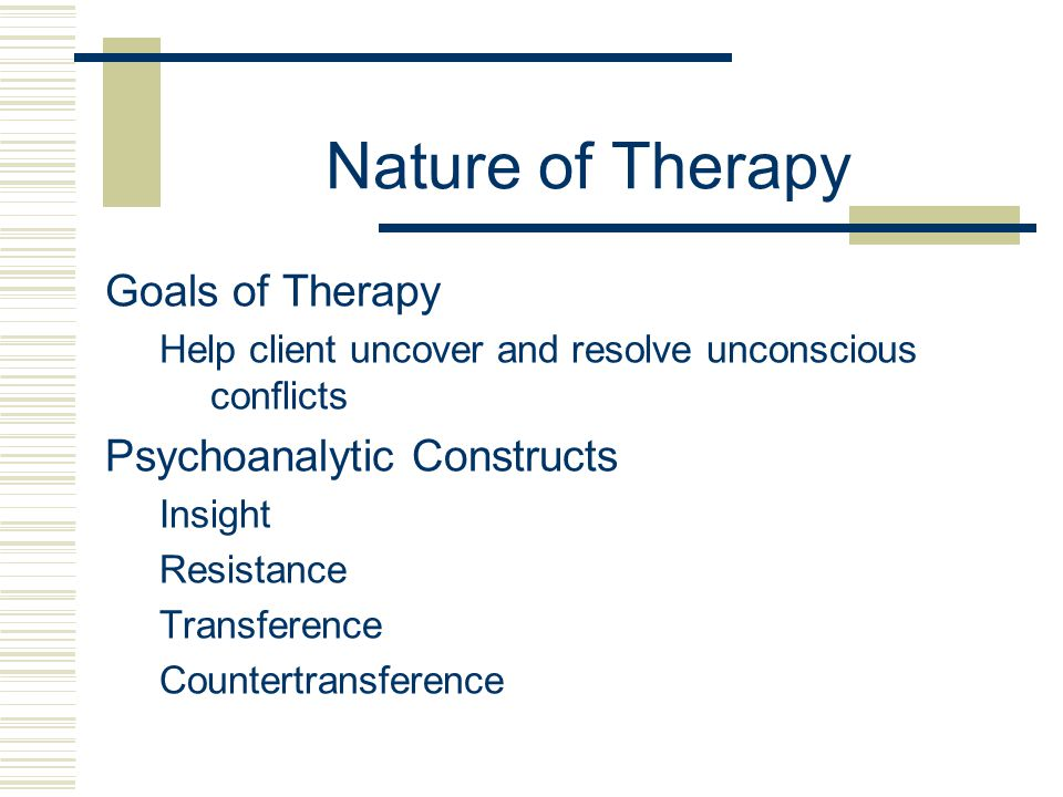 Nature of Therapy Goals of Therapy Psychoanalytic Constructs