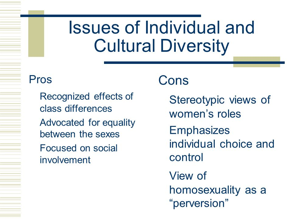 Issues of Individual and Cultural Diversity