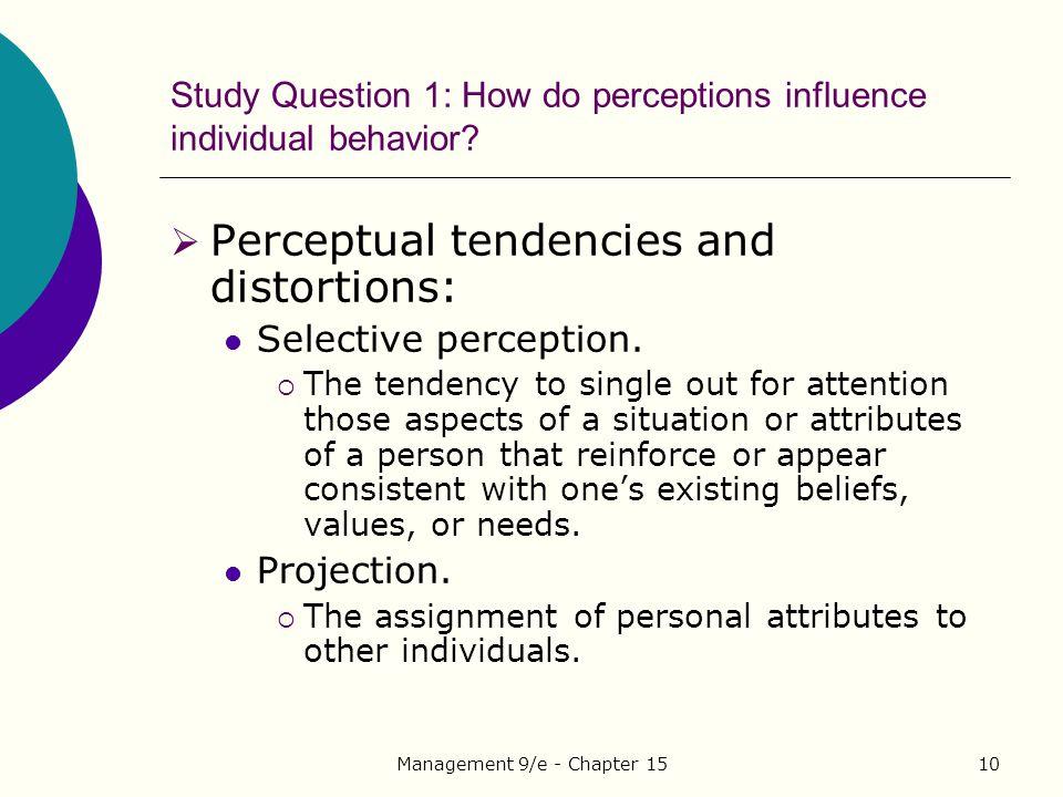 Study Question 1: How do perceptions influence individual behavior