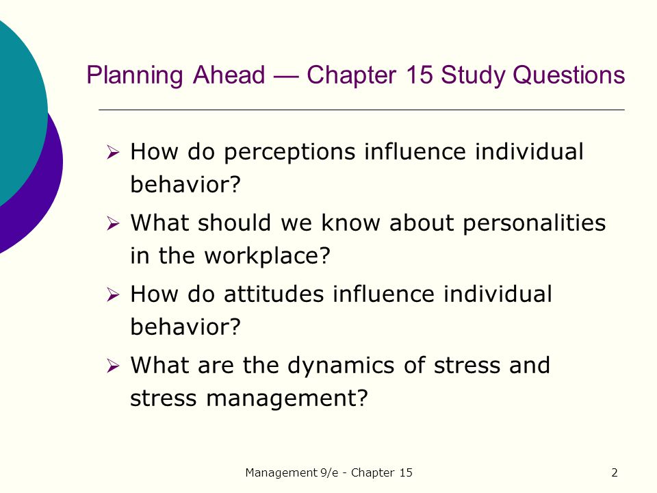 Planning Ahead — Chapter 15 Study Questions