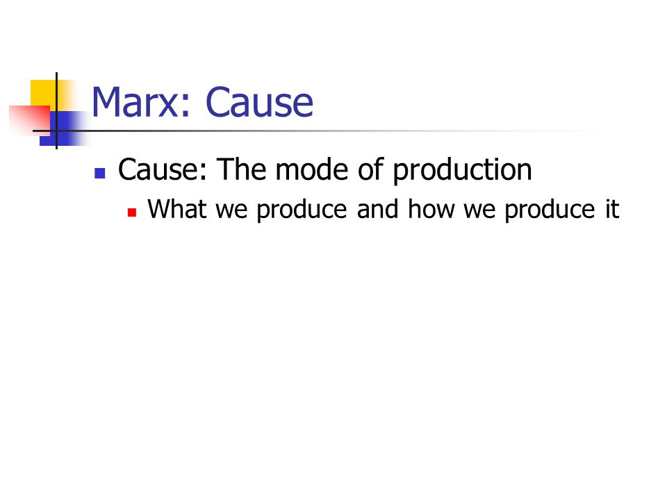 Marx: Cause Cause: The mode of production