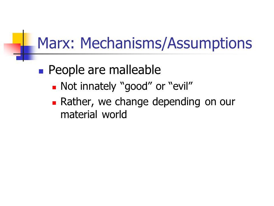 Marx: Mechanisms/Assumptions
