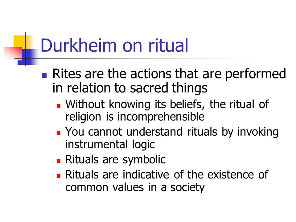 Durkheim on ritual Rites are the actions that are performed in relation to sacred things.